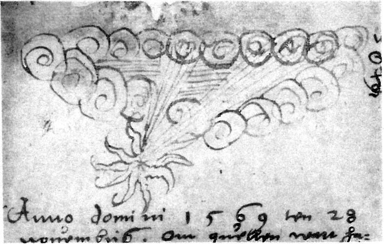 Ett himlafenomen dokumenterat av Klint från den 28 november 1569.